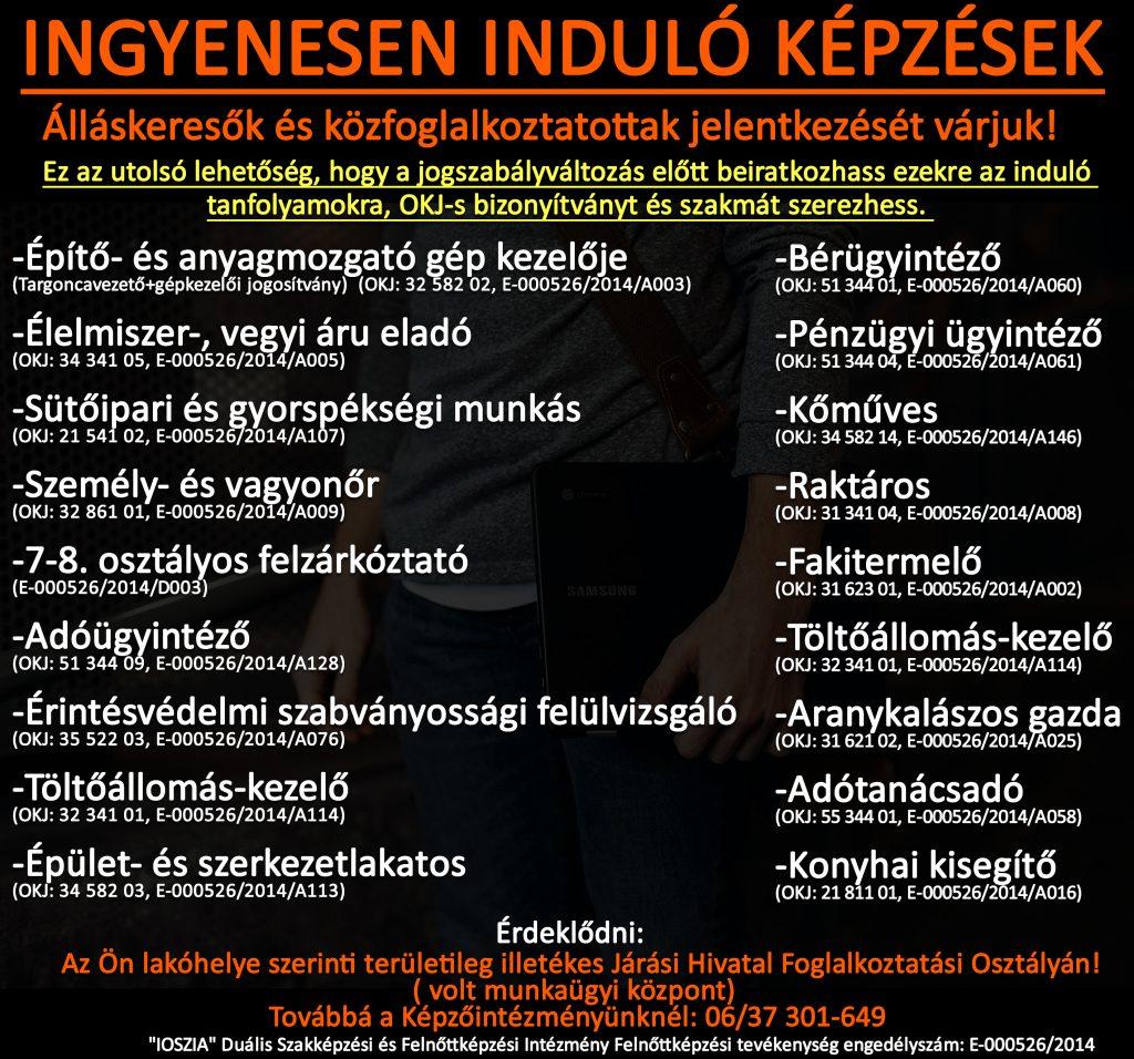 Pest megye - Ingyenes képzések - Felnőttképzés - felnottkepzes.hu - IOSZIA