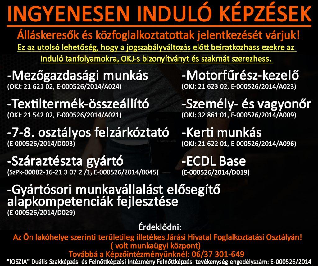 Tolna megye - Ingyenes képzések - Felnőttképzés - felnottkepzes.hu - IOSZIA